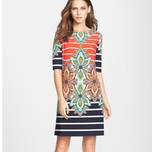 NWT ELIZA J Paisley and Stripes Jersey Knit Dress